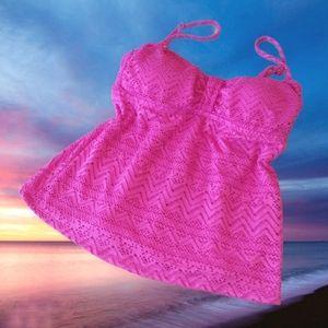 CATALINA Pink Mesh Lace Babydoll Tankini Swim Top